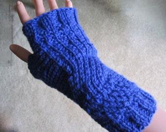 Hand Knitted Fingerless Blue Gloves (on Sale)