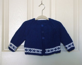 Hand Knitted - Dark Blue and White Hansel and Gretel Baby Cardigan
