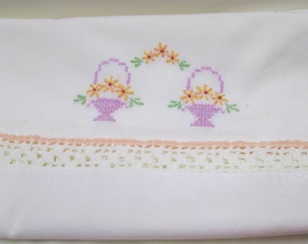 Embroidered Pillowcase Crochet Trim Vintage Embroidery Pillow Case Flower Baskets Florals Peach Lavender Violet Wide Crocheted Border