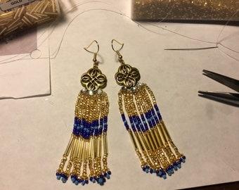 Gold-ish Seed Bead Earrings