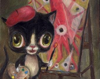 Tuxedo Cat Art Print, Squid Art, Whimsical Art, Pop Surrealism, Lowbrow Art, Illustration, ACEO, Children's Decor, Funny Animal Art