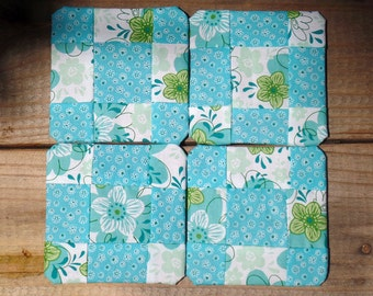 Aqua and Lime Green Floral Quilted Coasters