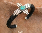 CZ1 Sterling Silver Zia Symbol with Turquoise Braided Leather Silver End Caps Cuff Southwestern Native Style Unisex Comfort