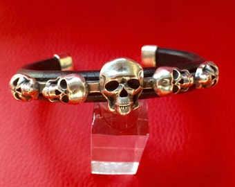 C26 Skull Sterling  Silver Inlayed on Leather Southwestern Native Style Cuff