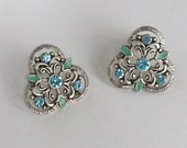 Aquamarine Crystal and Green Enamel Filigree Silver tone Button Style Trefoil Earrings