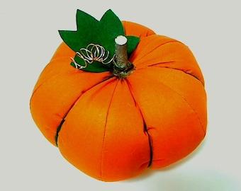 Size 8 | Solid Orange Fabric Pumpkin | Halloween Decor | Primitive Folk Art | Autumn/Fall Decoration | Holidays | Table Centerpiece | #4