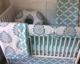 Crib Bedding Set Aqua Taupe and White Paisley