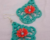 Handmade TURQUOISE & RED CHANDELIER Earrings TrEaSuRy ITeM Boho Lightweight