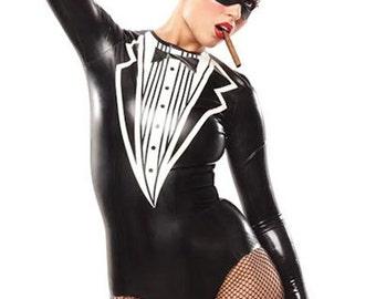 Lady Lucie Latex Tuxedo Bodysuit