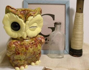 Sale - Vintage Winking Eye Owl Cookie Jar  RARE