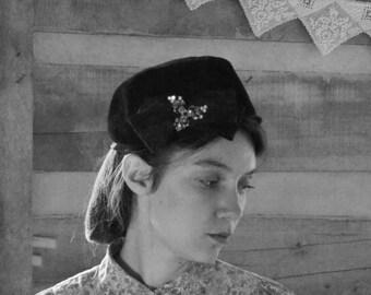 Vintage Hat Black Velvet and Satin Rhinestone Winter Hat 1940s