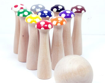 Rainbow Kinoko Mushroom Bowling Set 10 Pin - Medium - Wooden Bowling Game