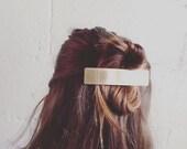 Golden Brass Barrette. Gold Bar Barrette. Brass Hair Accessory. Modern Minimal Hair. Chic Hair Accessory. Stamped Brass. Golden Bar. Simple.