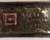small rectangular plate, trinket dish, Message, heart motif