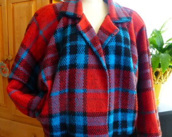 Vtg Plaid Coat 80s New Wave Dolman Sleeve red/balck/turquoise