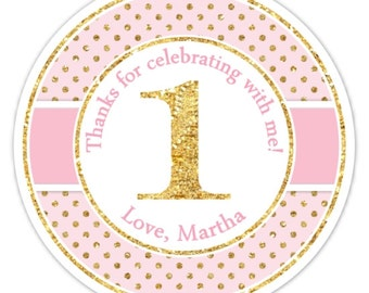 Gold Glitter Custom 1st Birthday Labels, 1st Birthday Stickers -  Pink and Gold Glitter Polka Dots First Birthday, Personalized for you