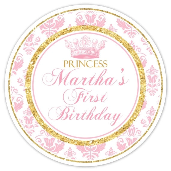 Pink And Gold Princess 1st Birthday Party Fresh Pink And: Princess Birthday Labels, Custom 1st Birthday Labels, 1st