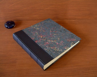 Leather spine photo album - navy with navy French marbled paper - 12x12in.30x30cm.-Ready to ship