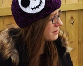 Jack Skellington Nightmare Before Christmas Crocheted Beanie Hat
