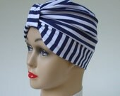Price Lowered: Cotton Turban with Lycra Nautical Stripe Classic Knot, on-Trend, XS/S or M/L Stretch