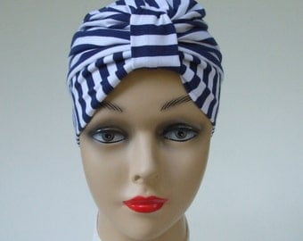 Cotton Turban Hat   Chemo Headwear   Women Cancer Hat   Nautical Stripe   Sleep Cap   Women Hat   Alopecia Headwear   Chemo Hat   XS/S