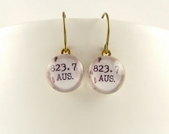 Jane Austen Earrings - Valentines Gift - 823.7 Dewey Decimal Jewelry - Library Card Catalog Earrings - Librarian Gift - Gifts For Writers