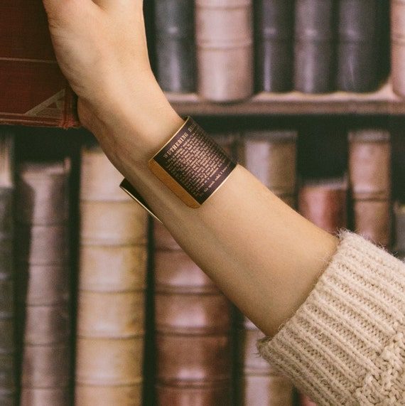 Emily Bronte's Wuthering Heights - Literary Classic Brass Cuff Bracelet - Perfect Anniversary Gift For Wife or Her