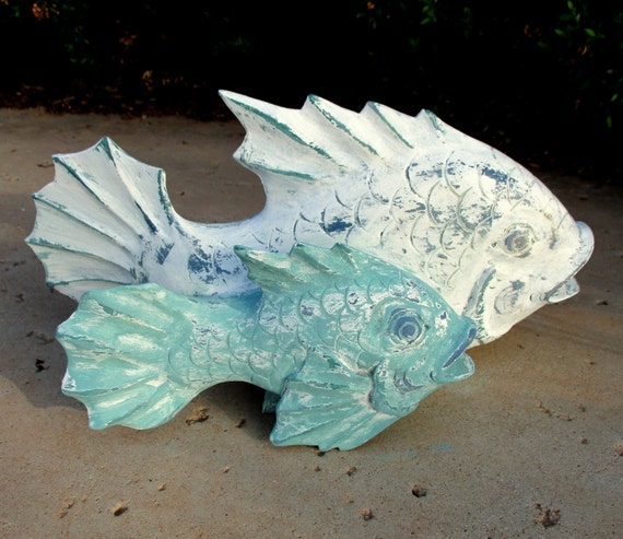 Fish folk art wood carving hand carved wooden by retrosideshow