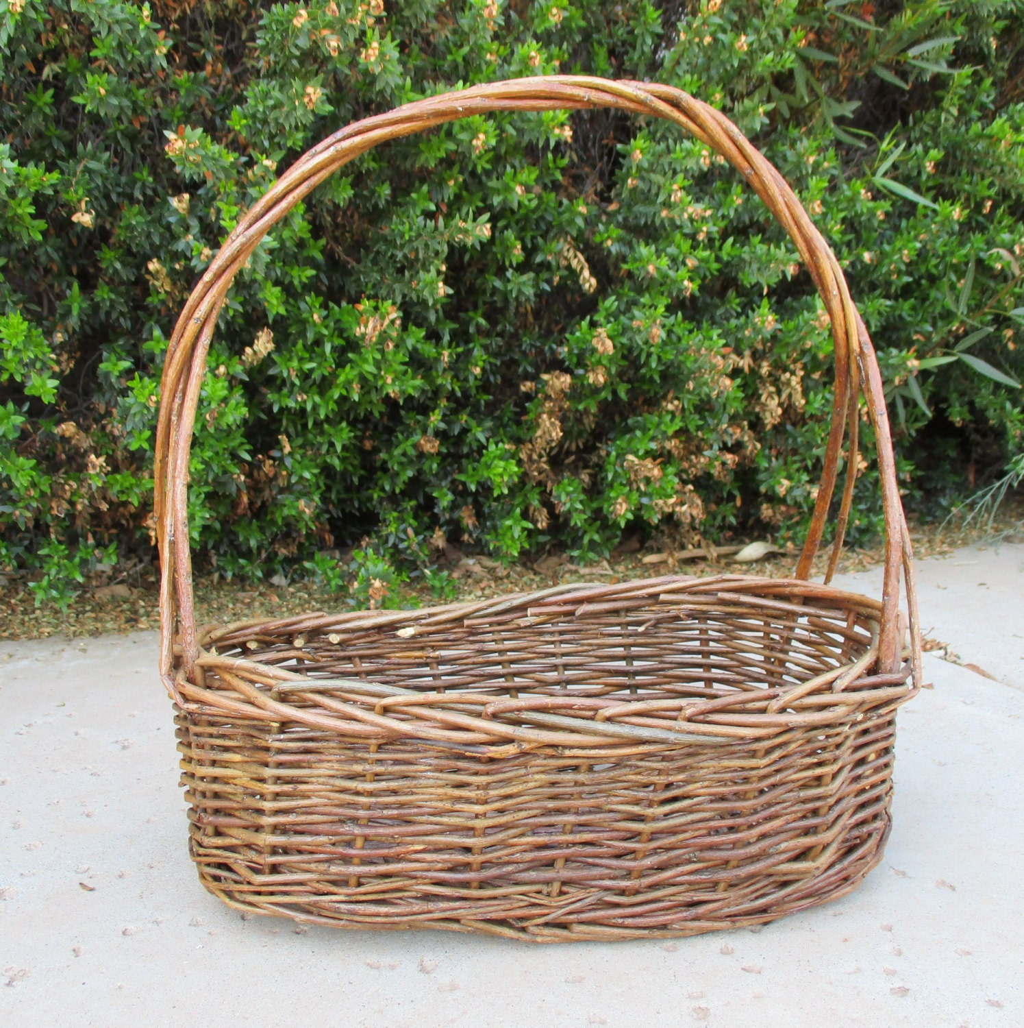 How To Weave A Basket Out Of Twigs : Woven gathering basket twig with handle rustic vintage