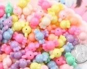 Candy Beads - 9mm Small Candy Shape Beautiful Bright Pastel Acrylic or Resin Beads - 100 pc set