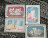 Vintage Framed 4 Kitten Postcards--Mid Century Plastichrome Cat Note Cards--Colourpicture--White Plastic Frames--Kitschy Kittens