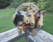 Vintage 3 Horse Head Chalkware Plaque--Horse Trio in Horseshoe--Mid Century--Equine--Horse Lover Collector