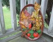Vintage Burwood 1008 Retro Oval Wall Art--Autumn Barn Pheasant Pumpkins Corn Harvest--Fall Colors--Seventies Wall Plaque