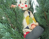 Vintage Creepy Circus Clown--Smiling Court Jester--Carnival Clown--Halloween Party Decor--Soft Body Old Doll--Halloween Decor