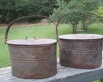 Vintage Covered Tin Oval Lidded Pail--Lunch Bucket--Rusty Patina--Country Farm Decor--Industrial Chic--Unique Storage--