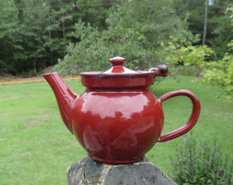 Vintage Czechoslovakia Brown Enamel Teapot--Enamelware Kettle--Metal--European Kitchenware--French Country Kitchen