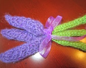 Hand-Knit Bouquet Of Lavenders
