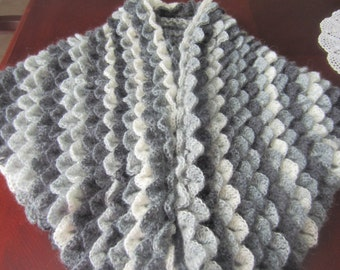 Beautiful Triangle Patina Colors From Grey To White Crochet Crocodile Stitch Shawl Wrap Shrug