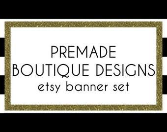 Gold Glitter  Black and White Stripes Premade Etsy Banner Set - Etsy Shop Banner Set - Etsy Banner Set - Premade Etsy Kit - 247383949