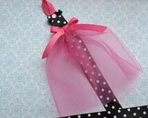 Black, White, and Hot Pink Tutu Dress Bowholder