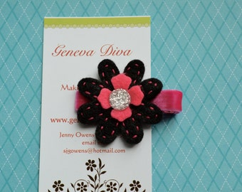 Black and Shocking Pink Glitter Center Felt Flower Clip