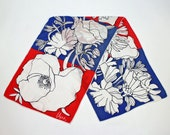 SALE - 70's Vera Scarf / Red, White, Blue Floral / Long Rectangle Scarf / Sash