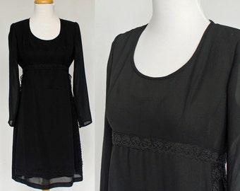 80's Black Crepe Empire Waist Dress / Long Sleeves /  Liz Claiborne / Small