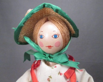 "Vintage Wooden Peg Doll in Period Dress - 1970's - 9"" Tall"
