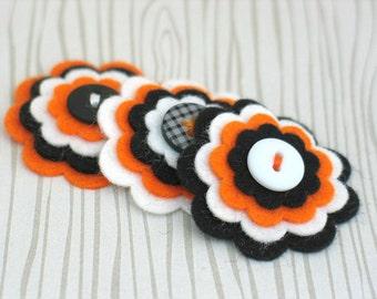 TRICK or TREAT - Halloween Felt Flowers, Handmade Halloween Embellishments, Halloween / Fall Felt Flowers - Set of 3