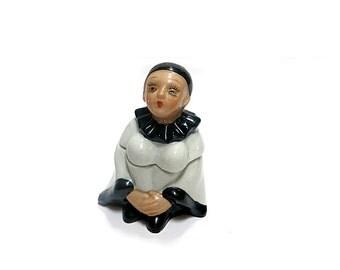 Black & White Harlequin Clown Ceramic Box Hand Painted Pierrot Figure