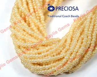 1 hank Preciosa Czech Seed Beads Pearl Cream Ivory  Size 11/0