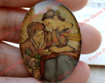 Vintage Cabochon Cab 40x30mm, West German Plastic Gold Foiled Base Decaled Backing Cameo- 1 Piece