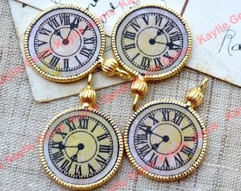 Antique Stle Clock Charm Pendant Gold - 4pcs - Limited Offer