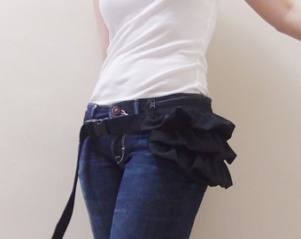Back To School SALE - 20% OFF Gathered Waist Purse in Black with Chiffon / Fanny Pack / Hip Bag / Pouch / Waist Belt / Women / For Her
